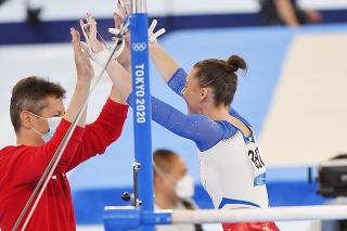 Slovenská športová gymnastka Barbora Mokošová a tréner Martin Zvalo