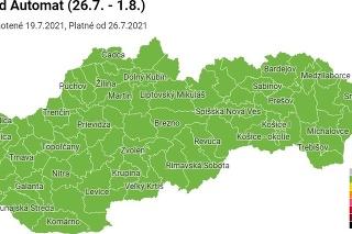 Všetky okresy zostávajú v zelenej farbe.