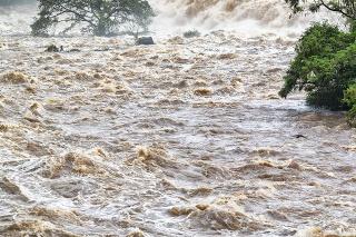 Photo of a place flooded. Overflow.