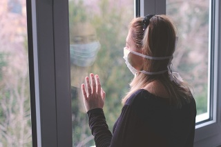 horizontal background woman in isolation at home for virus outbreak or hypochondria .