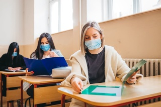 High school students in the benches after the pandemic corona virus