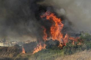 oriace porasty počas lesného požiaru v dedine Blufi.