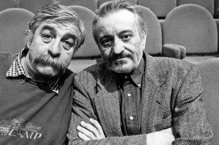 Nerozlučná dvojica: Satinský († 61) s Lasicom († 81) stáli na javisku spolu desiatky rokov, dnes obaja účinkujú v nebeskom divadle.