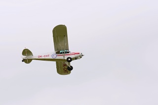 Piper PA-18-150 Super Cub in flight during the Open Day at Tactical Air Force Base Caslav on May 20, 2017 in Caslav.