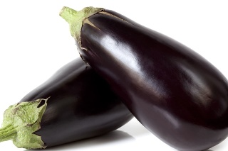 Two large eggplant, over white background.  More fruits and vegetables: