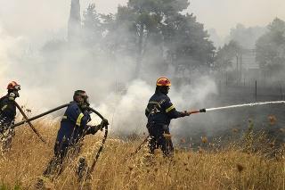 Hasiči bojujú s lesnými požiarmi.