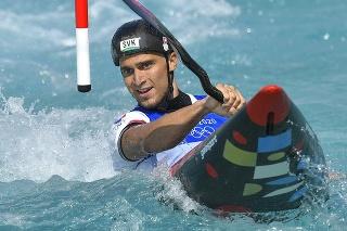 Na snímke reprezentant vo vodnom slalome Jakub Grigar v kvalifikačnej jazde v kategórii K1.