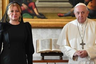 Prezidentka Zuzana Čaputová na stretnutí s pápežom Františkom.