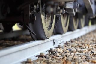 Heavy railway train wheels on a track