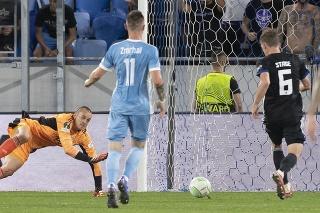 Zápas Európskej konferenčnej ligy medzi ŠK Slovanom Bratislava a FC Kodaň.