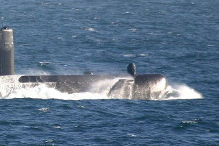 A Submarine out at sea (about 80 miles off shore)