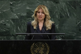 Zuzana Čaputová počas prejavu v rámci všeobecnej rozpravy Valného zhromaždenia OSN v New Yorku 24. septembra 2019.