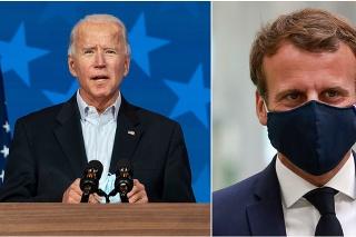 Nový americký prezident Joe Biden a francúzsky prezident Emmanuel Macron.