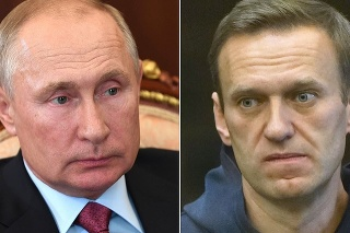Vľavo ruský prezident Putin, vpravo jeho kritik Navaľnyj.