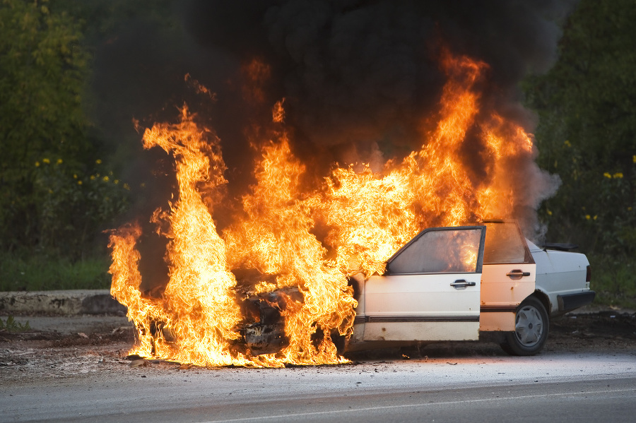 The car is burning