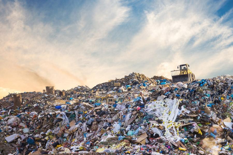 Garbage pile in trash