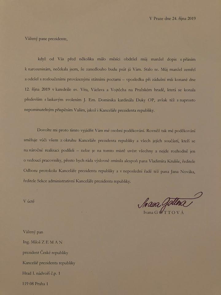 List, ktorý Ivana Gottová