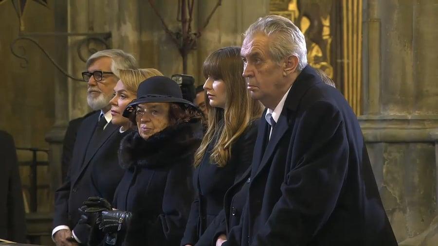 Prezident Zeman na pohrebe