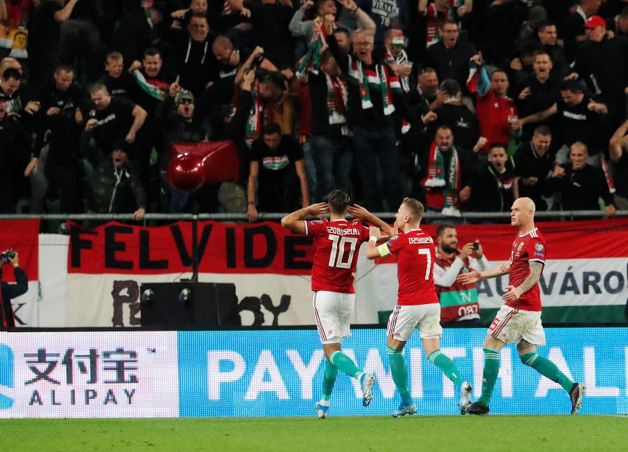 Radosť maďarských hráčov v