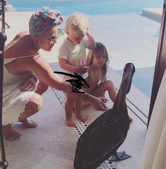 Speváčka Pink s deťmi.