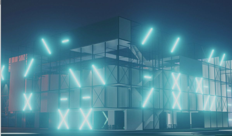 Budova má v noci