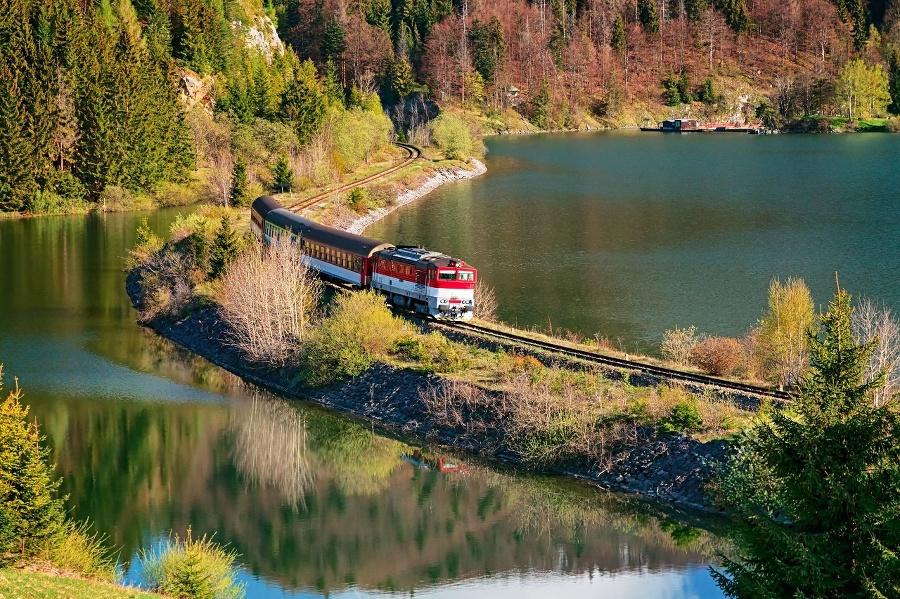 Train passing through lake