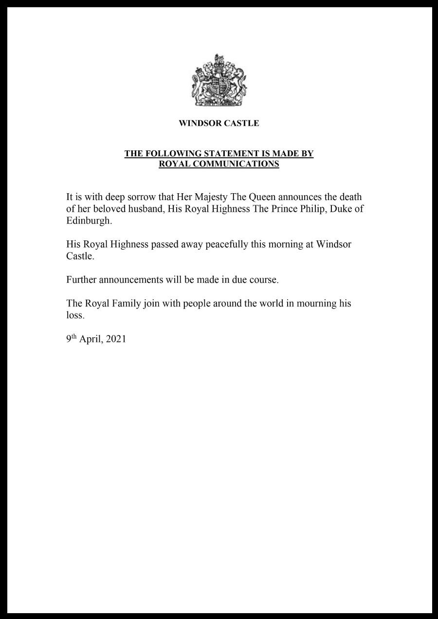 Oficiálne oznámenie Buckinghamského paláca