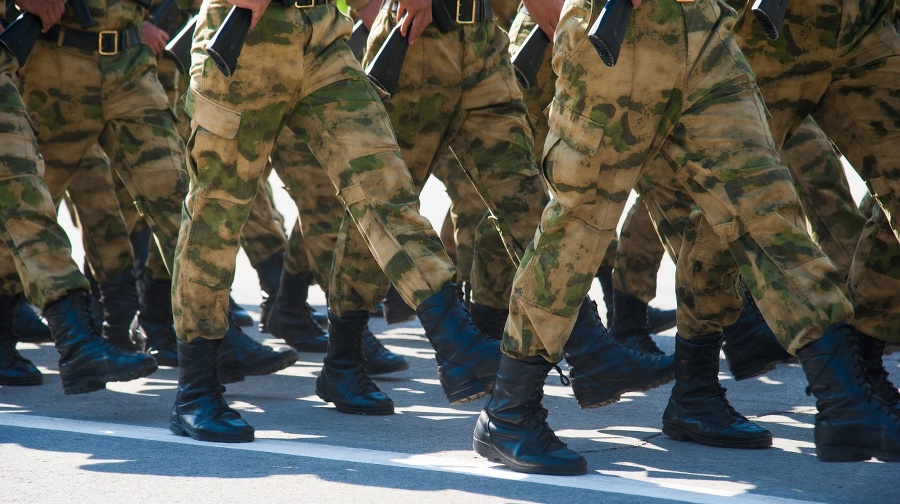 Soldiers in dress uniform