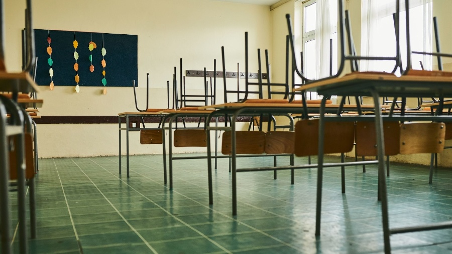 Empty classroom with chairs