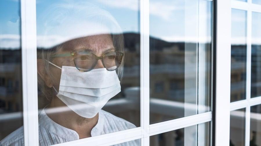 Coronavirus pandemic, senior woman