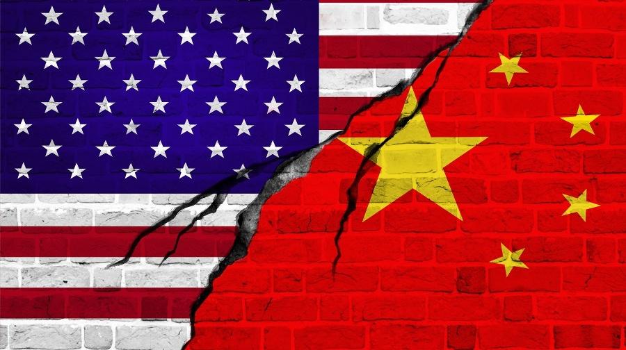 USA and China flag,