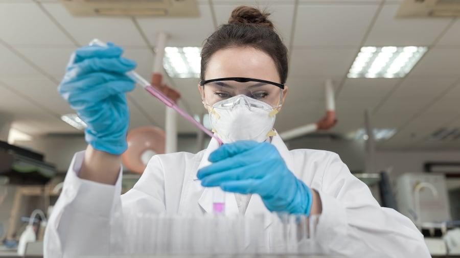 Female scientist working in