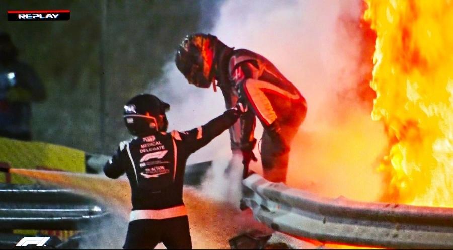 Grosjean počas hrôzostrašnej nehody