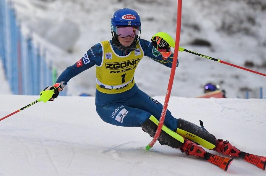 Shiffrinová počas slalomu v