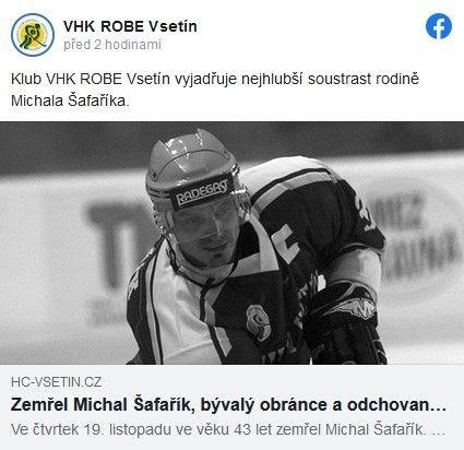 O smrti informoval hokejový