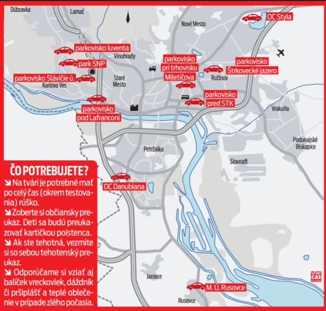 Mapa odberových miest.