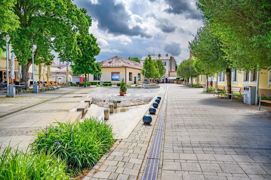 Pedestrian zone with small