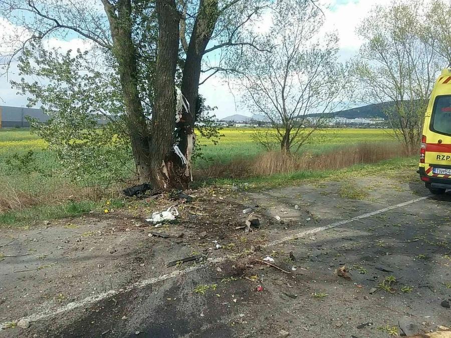Auto vrazilo do stromu.