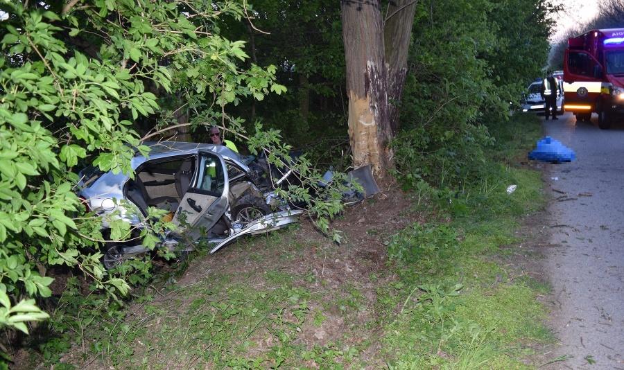 33-ročný vodič pravdepodobne nezvládol prejazd pravotočivou zákrutou a auto zišlo do priekopy a narazilo do stromu.