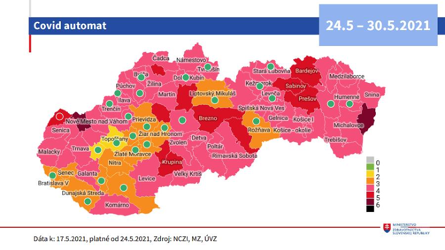 Farby na mape okresov