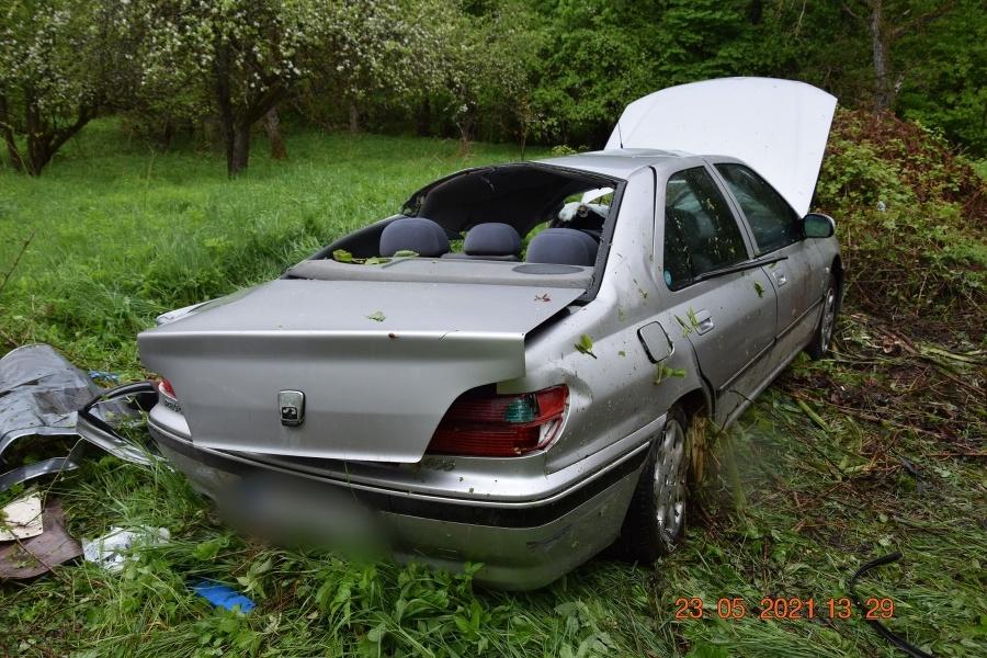 Auto vyletelo mimo cesty.