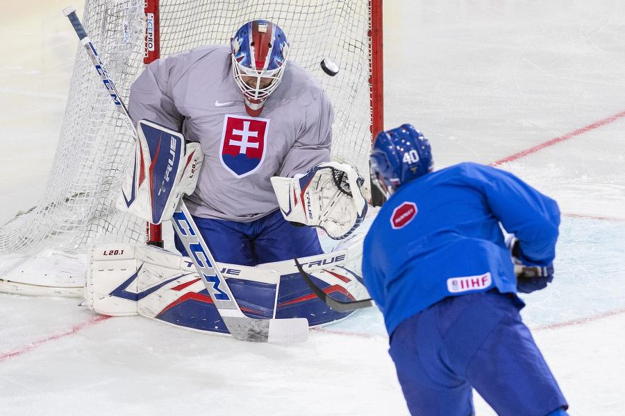 Slovenskí hokejisto počas rozkorčuľovania