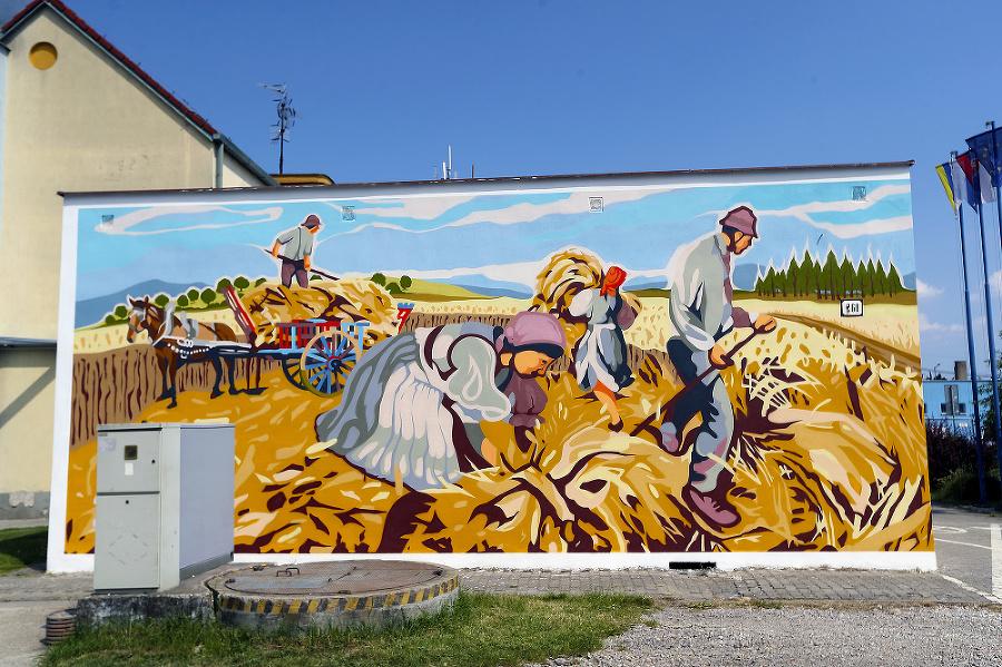Na maľbe autori znázornili kultivovanie pôdy prisťahovalcami.