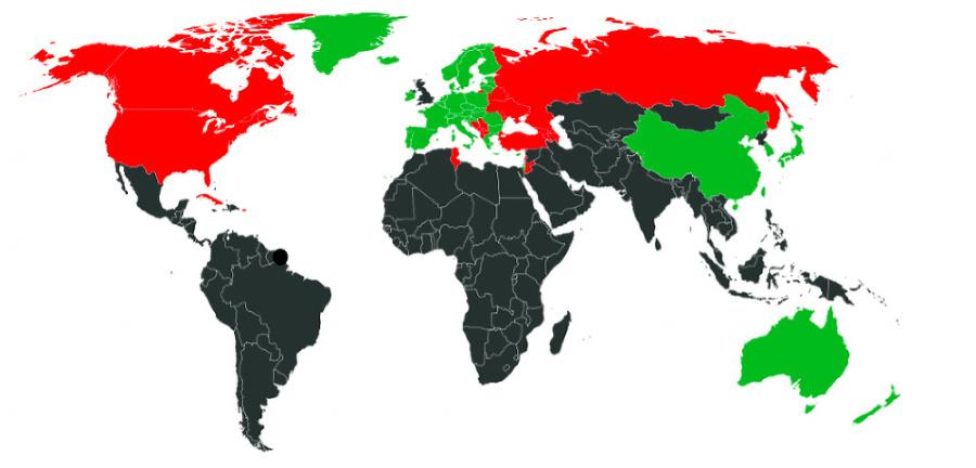 Cestovateľská mapa krajín