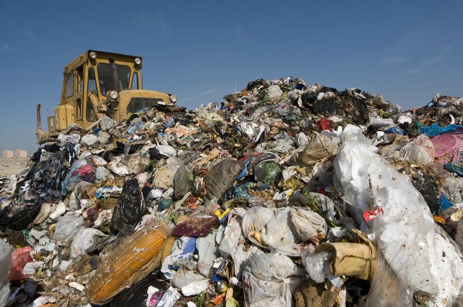 Väčšina odpadu je uložená