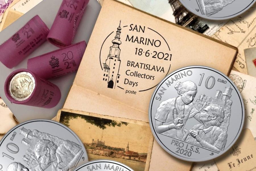 Desaťeurová minca zo San Marína s témou covid.