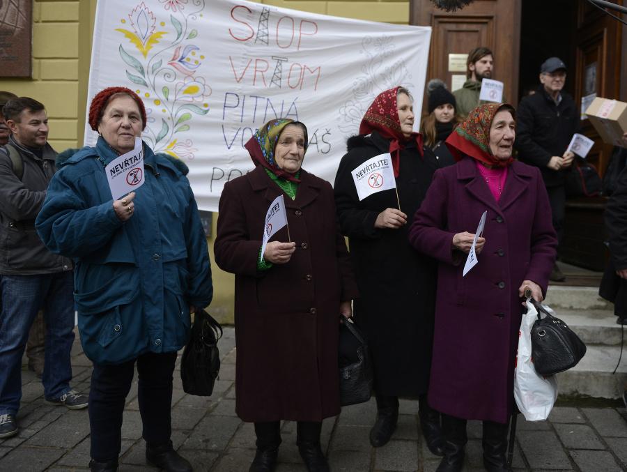 Anna počas protestu obyvateľov Ruskej Poruby v Prešove v januári 2016.