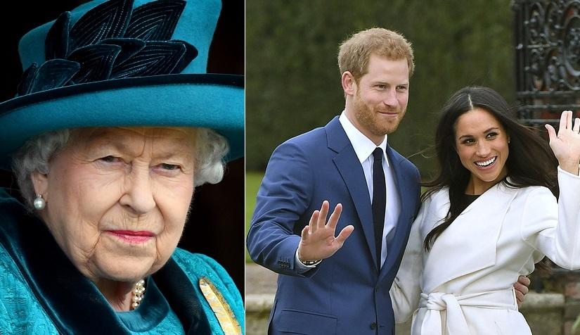 Vľavo kráľovná, vpravo Harry