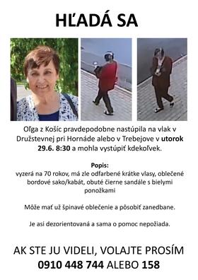 Polícia pátra po nezvestnej seniorke z Košíc od minulého pondelka (28.6.).