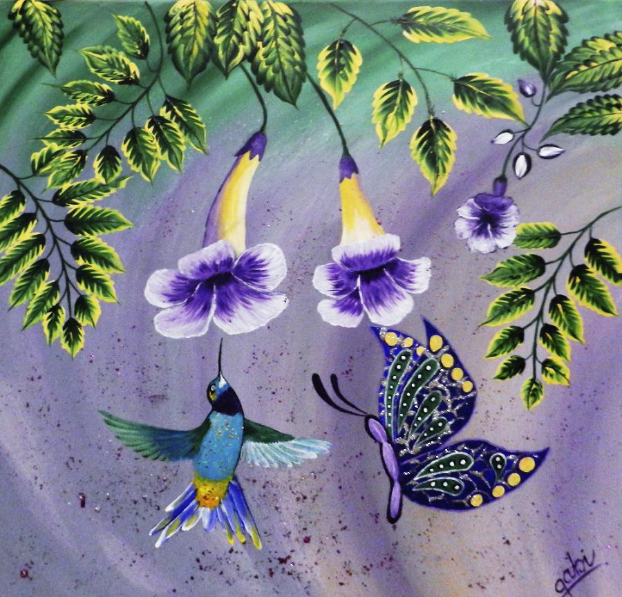 Medzi jej dielami možno nájsť aj pestrofarebného  kolibríka.